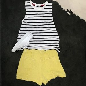 Zara yellow tweed shorts (XS)